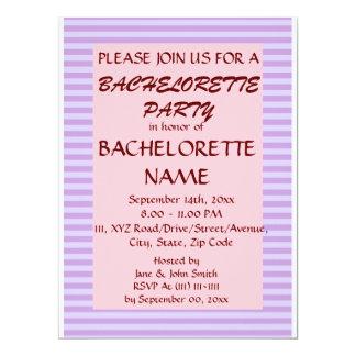 Rayas Fiesta-Violetas de Bachelorette, fondo Invitación 16,5 X 22,2 Cm