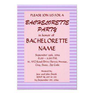 Rayas Fiesta-Violetas de Bachelorette, fondo Invitación 8,9 X 12,7 Cm