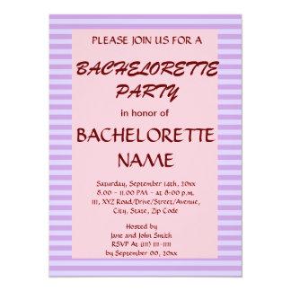 Rayas Fiesta-Violetas de Bachelorette, fondo Invitación 13,9 X 19,0 Cm