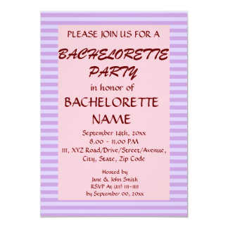 Rayas Fiesta-Violetas de Bachelorette, fondo Invitación 12,7 X 17,8 Cm