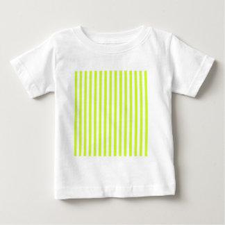 Rayas finas - blancas y amarillo fluorescente camiseta de bebé