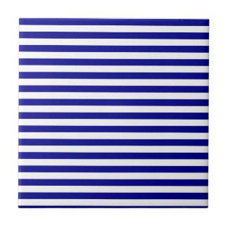 Rayas finas - blancas y azul marino azulejo de cerámica