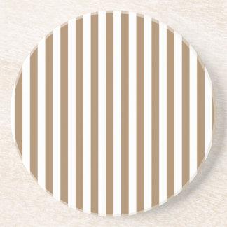 Rayas finas - blancas y Brown pálido Posavasos