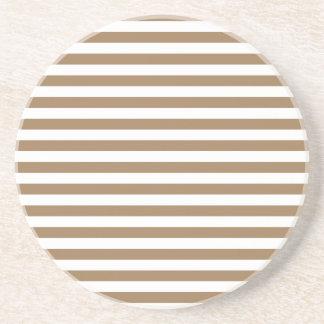 Rayas finas - blancas y Brown pálido Posavasos De Arenisca