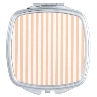 Rayas finas - blancas y melocotón profundo espejos compactos