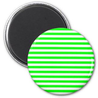 Rayas finas - blancas y verde eléctrico imán