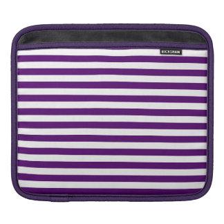 Rayas finas - blancas y violeta oscura funda para iPad