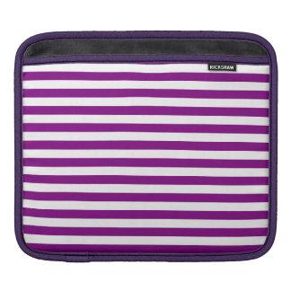 Rayas finas - blanco y púrpura funda para iPad