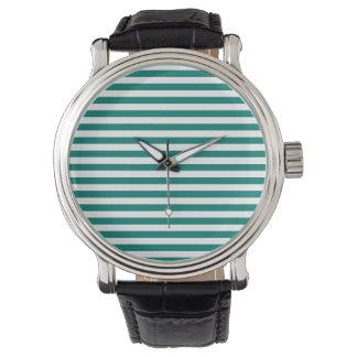 Rayas finas - blanco y verde del pino reloj