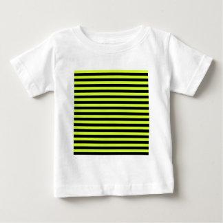 Rayas finas - negras y amarillo fluorescente camiseta de bebé