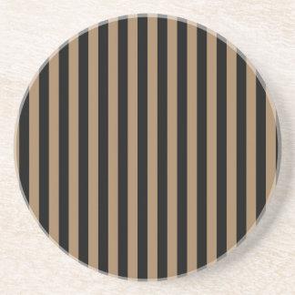 Rayas finas - negras y Brown pálido Posavasos De Arenisca