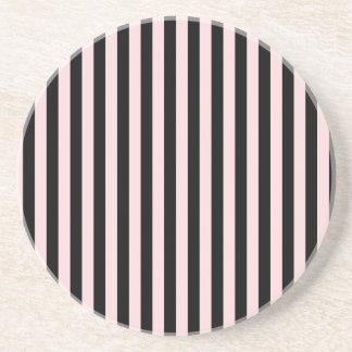 Rayas finas - negras y pálidas - rosa posavasos