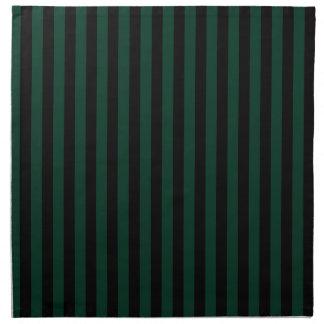 Rayas finas - negras y verde oscuro servilleta de tela