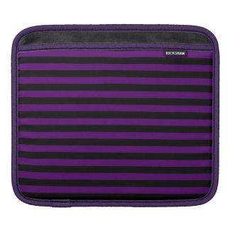 Rayas finas - negras y violeta oscura funda para iPad