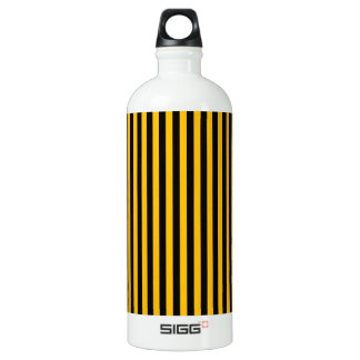 Rayas finas - negro y ámbar botella de agua
