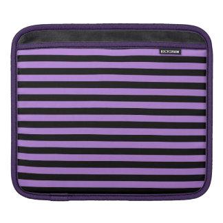 Rayas finas - negro y lavanda funda para iPad