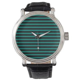 Rayas finas - negro y verde del pino reloj de pulsera