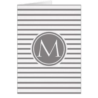 Rayas finas Titanium modelo y monograma Tarjeta De Felicitación