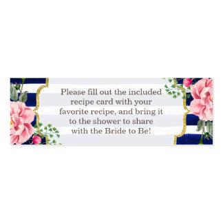 Rayas florales de la marina de guerra de la ducha tarjetas de visita mini