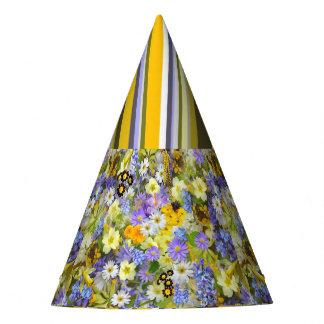 Rayas florales del gorra del fiesta