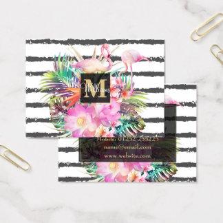 rayas florales tropicales de las hojas y de los tarjeta de visita