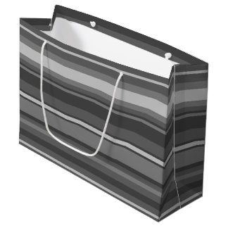 Rayas grises bolsa de regalo grande