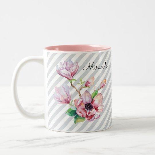 Rayas grises florales y nombre de la magnolia taza de café de dos colores
