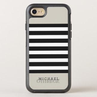 Rayas grises negras beige de lino con clase funda OtterBox symmetry para iPhone 7