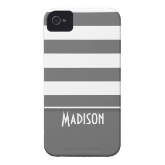 Rayas grises oscuros; Personalizado iPhone 4 Case-Mate Protector