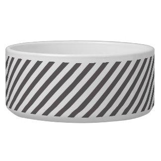 Rayas grises y blancas - cuenco del mascota