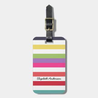 Rayas horizontales anchas del arco iris femenino etiquetas para maletas