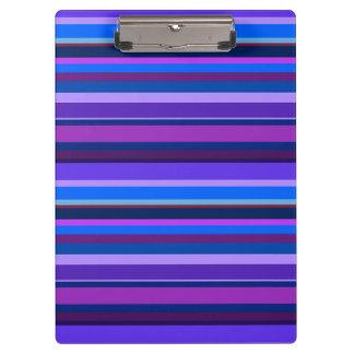 Rayas horizontales azules y púrpuras carpeta de pinza