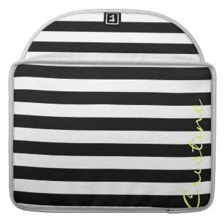 rayas horizontales blancos y negros con nombre fundas para macbooks