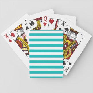 Rayas horizontales de la aguamarina baraja de cartas