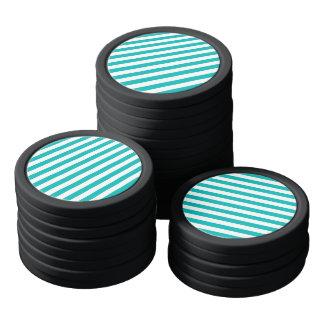Rayas horizontales de la aguamarina juego de fichas de póquer