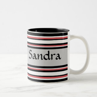 Rayas intrépidas taza de café de dos colores