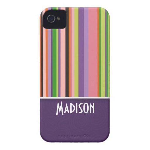 Rayas lindas; Púrpura iPhone 4 Funda