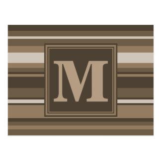 Rayas marrones del monograma postal