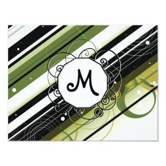 Rayas Moderno-Retras del verde verde oliva con el Invitación 10,8 X 13,9 Cm