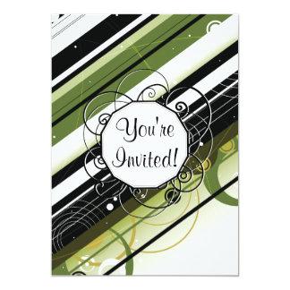Rayas Moderno-Retras del verde verde oliva con el Invitación 12,7 X 17,8 Cm