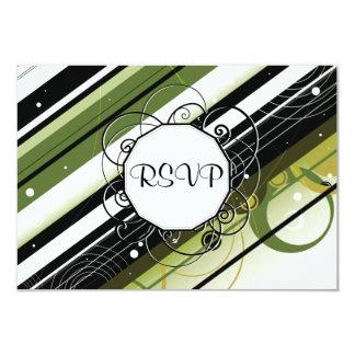 Rayas Moderno-Retras del verde verde oliva con el Invitación 8,9 X 12,7 Cm