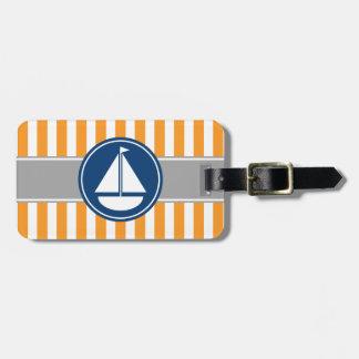 Rayas náuticas anaranjadas del velero etiquetas para maletas