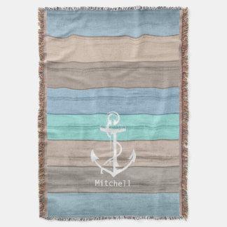 Rayas náuticas de madera y ancla de la playa manta tejida