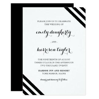 Rayas náuticas del boda costero blancos y negros invitación 12,7 x 17,8 cm