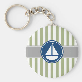 Rayas náuticas del velero de la verde salvia llavero redondo tipo chapa