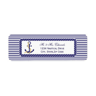 Rayas náuticas elegantes de la marina de guerra etiquetas de remite