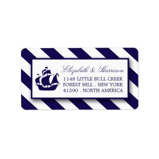 Rayas náuticas y boda de la nave de los azules etiquetas de dirección