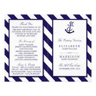 Rayas náuticas y boda del ancla de los azules folleto 21,6 x 28 cm