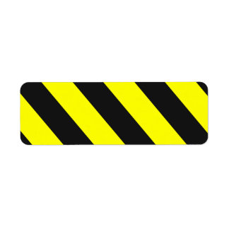 Rayas negras amarillas de la atención etiqueta de remitente