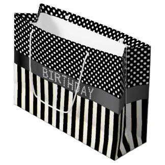 Rayas negras/bolso del regalo de cumpleaños del bolsa de regalo grande